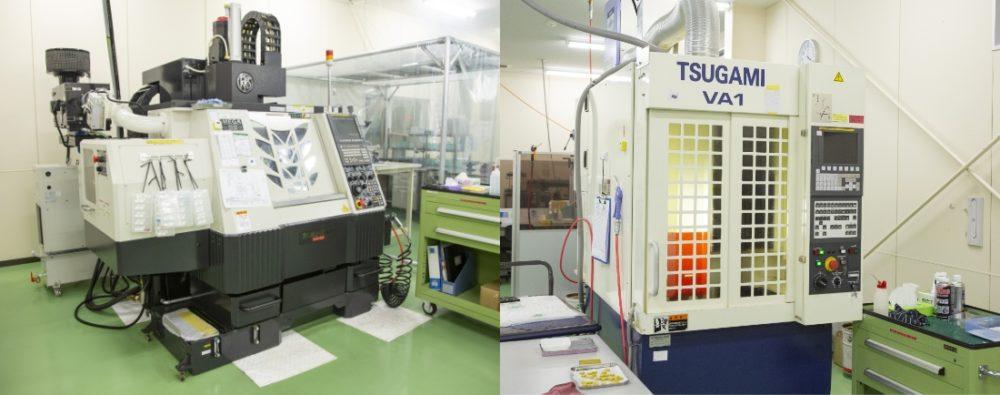 左)MC(マシニングセンタ)碌々産業-MEGA-SS400、右)MC(マシニングセンタ)ツガミ-VA1|どれだけ最先端の機械設備でも、それぞれの機械が「クセ」を持っています。少しの「クセ」が大きな差となってしまいますので、お客様のニーズに合わせたよりハイレベルな加工を実現するために、研究と挑戦を続けています。